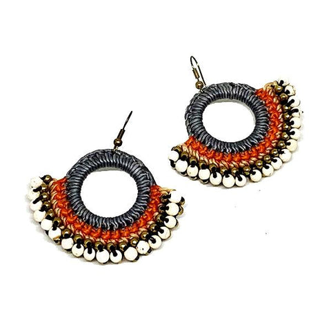 Grey and Orange Macrame Hoop Earrings