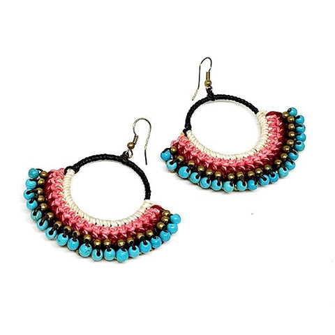 Pink and Turquoise Hoop Macrame Earrings
