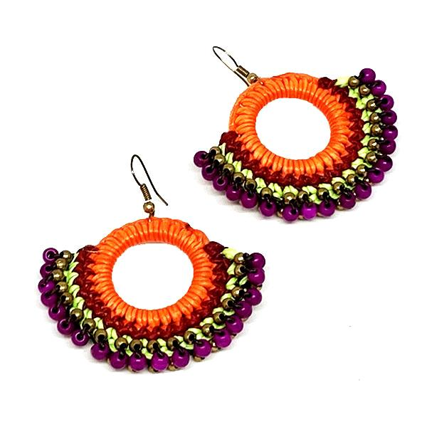 Bright Orange, Purple and Green Macrame Hoop Earrings