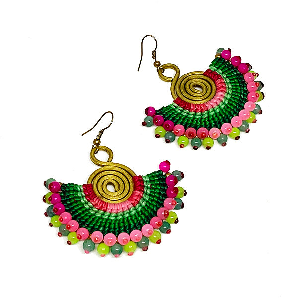 Pink and Green Macrame Earrings