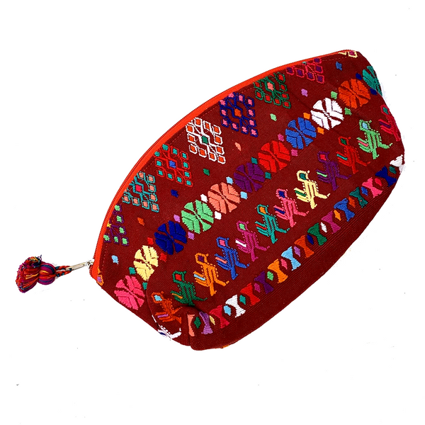 Large Dark Red Bird, Flower, People Huipil Fabric & Plastic Lined Cosmetic Bag