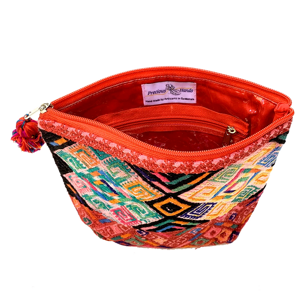 Large Red Patterned Huipil Fabric & Plastic Lined Cosmetic Bag