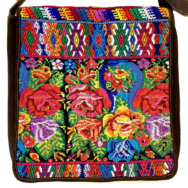 Colorful Embroidered Vintage Huipil & Indigo Fabric with Leather Messenger Bag