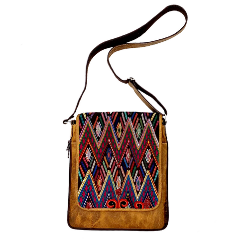 Colorful Embroidered Vintage Huipil & Leather Messenger Bag