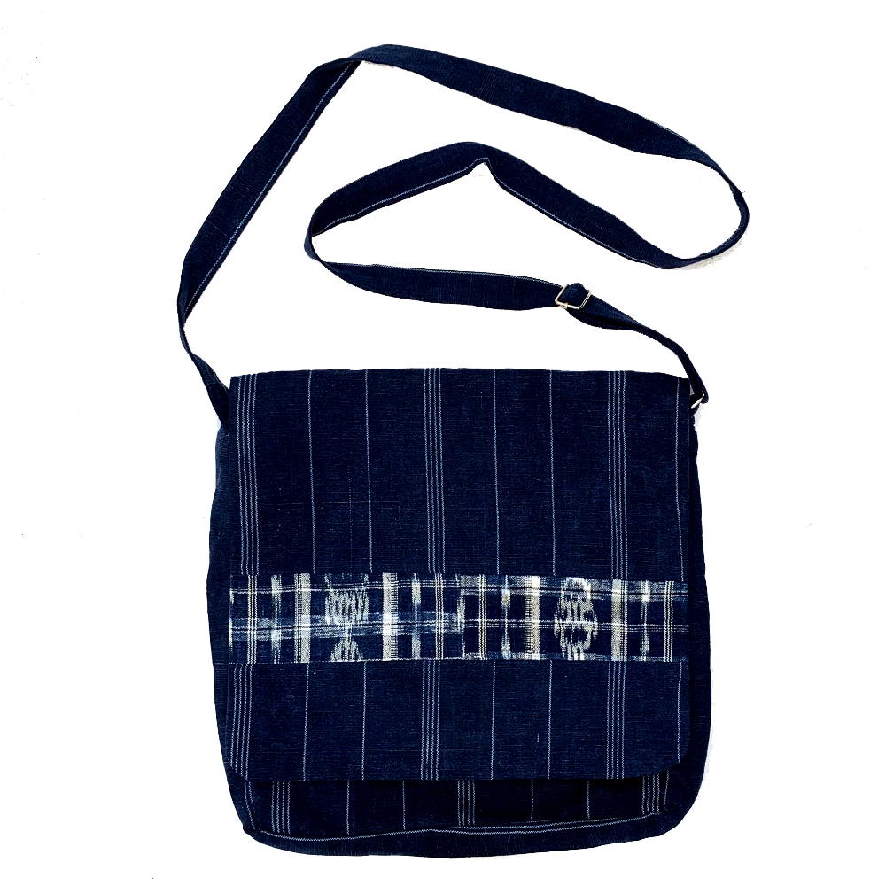 Large Indigo Fabric Unisex Messenger Bag