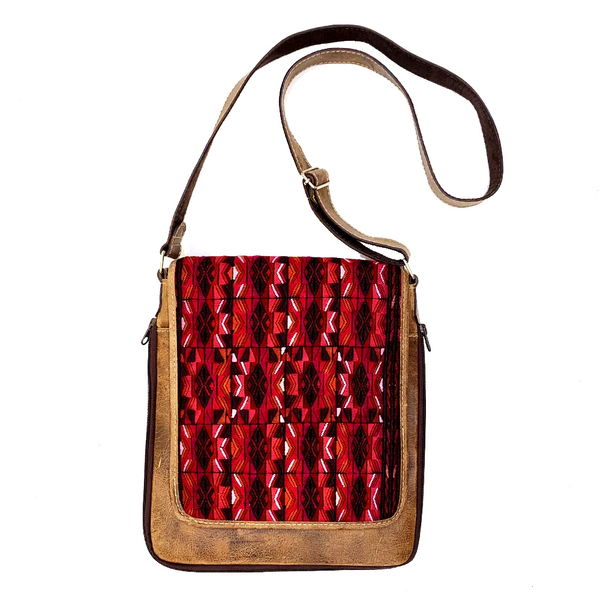 Red Patterned Embroidered Vintage Huipil & Leather Messenger Bag