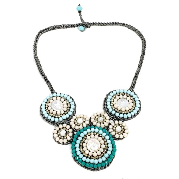 Soft Blue, Turquoise and White with Pearl Macrame Necklace