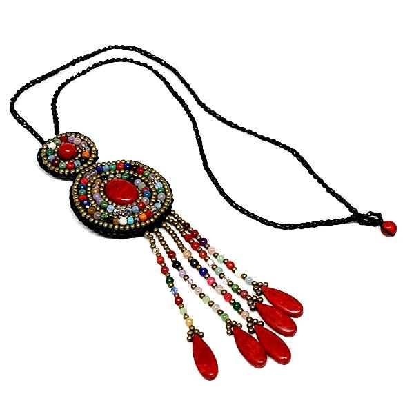 Colorful Red Beads and Fringe Macrame Necklace