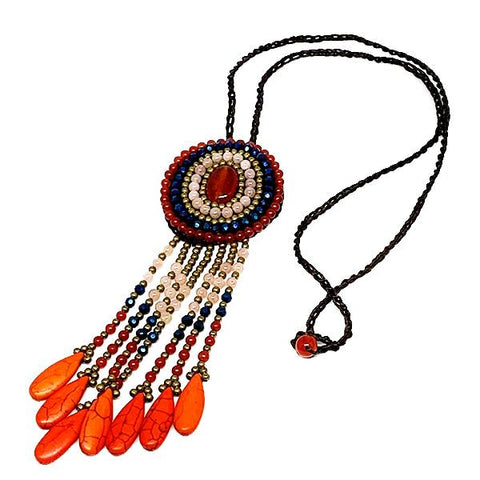Orange , Blue and Pink Bolo Style Fringe Macrame Necklace