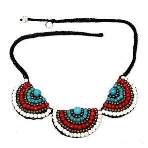 White, Red and Turquoise Macrame Necklace