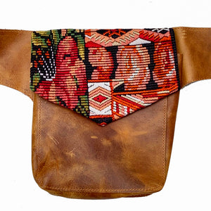 Bold Geometric Vintage Huipil Fabric & Leather Hip Pouch