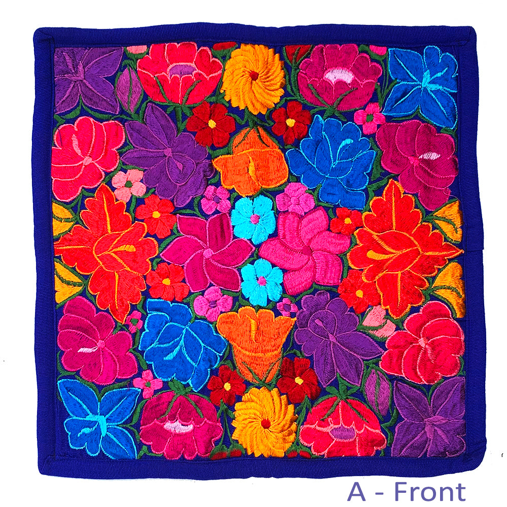 "Large Embroidered Colorful Flower Pillow Covers - 18"" x 18"""