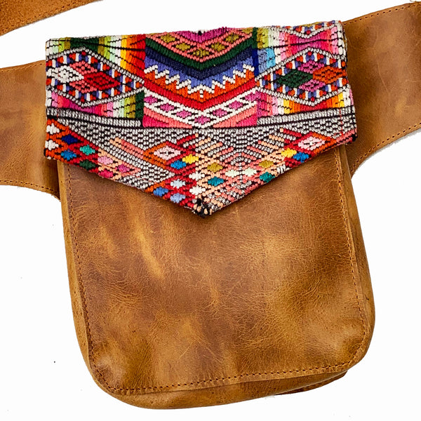 Rainbow Geometric Vintage Huipil Fabric & Leather Hip Pouch
