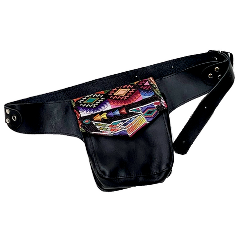 Vintage Huipil Textile & Black Leather Single Hip Pouch