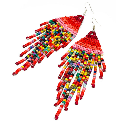 Red & Pink Rainbow Beaded Fringe Earrings - 5 1/2""