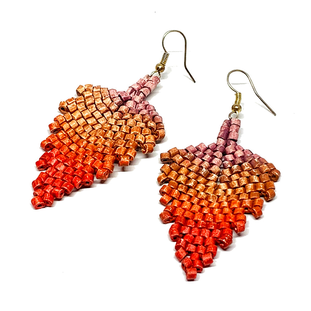 Rose, Rust & Red Ceramic Beaded Leaf Earrings