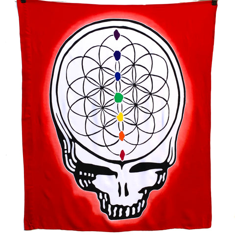 GD Inspired Batik Red Steal Your Face Flower of Life Tapestry or Flag - 3 x 3 1/2 Feet!