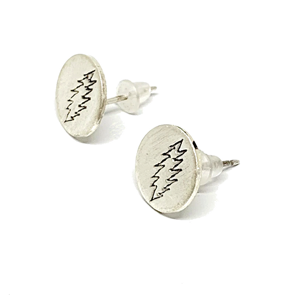 Handmade Sterling Silver Bolt Stamp Post Earrings