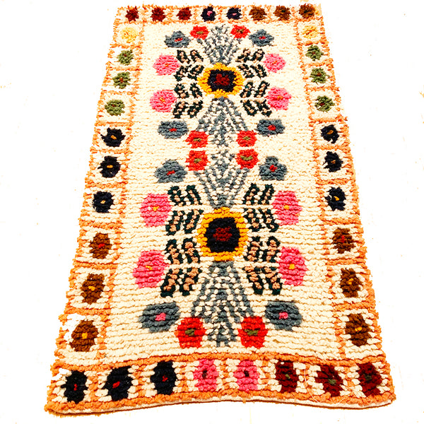 Small Set - Light Orange Handwoven High Pile Wool Rug from Guatemala - 2 x 3