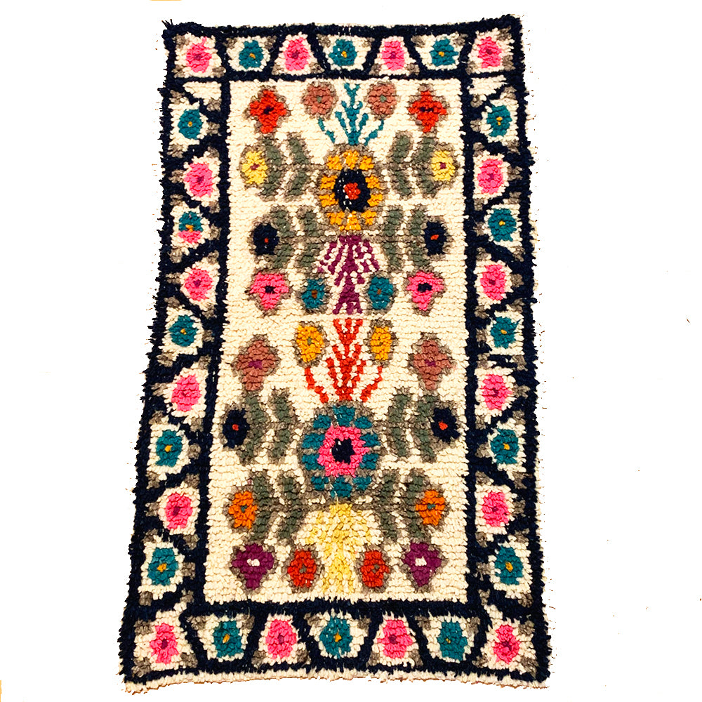 Small Colorful Handwoven High Pile Wool Rug from Guatemala - 2 x 3.5