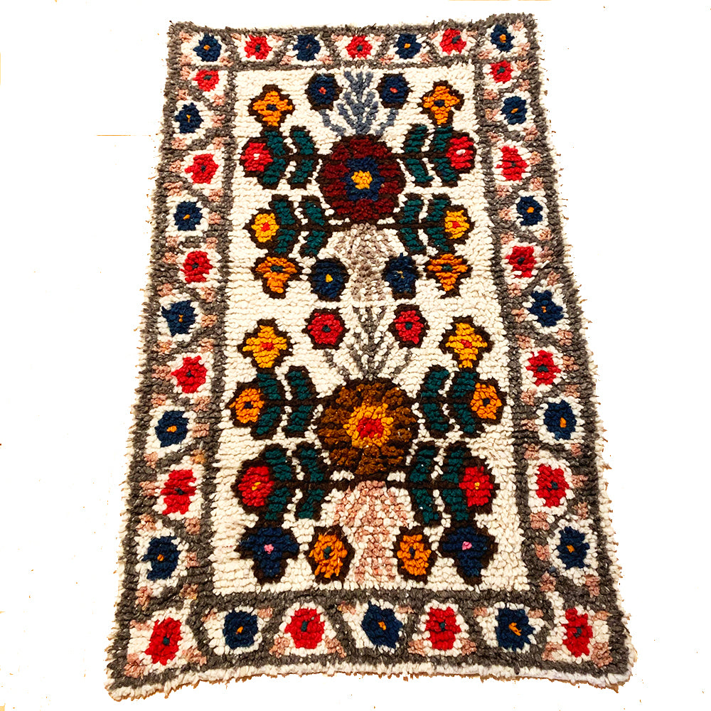 Small Grey Colorful Handwoven High Pile Wool Rug from Guatemala - 2 x 3.5