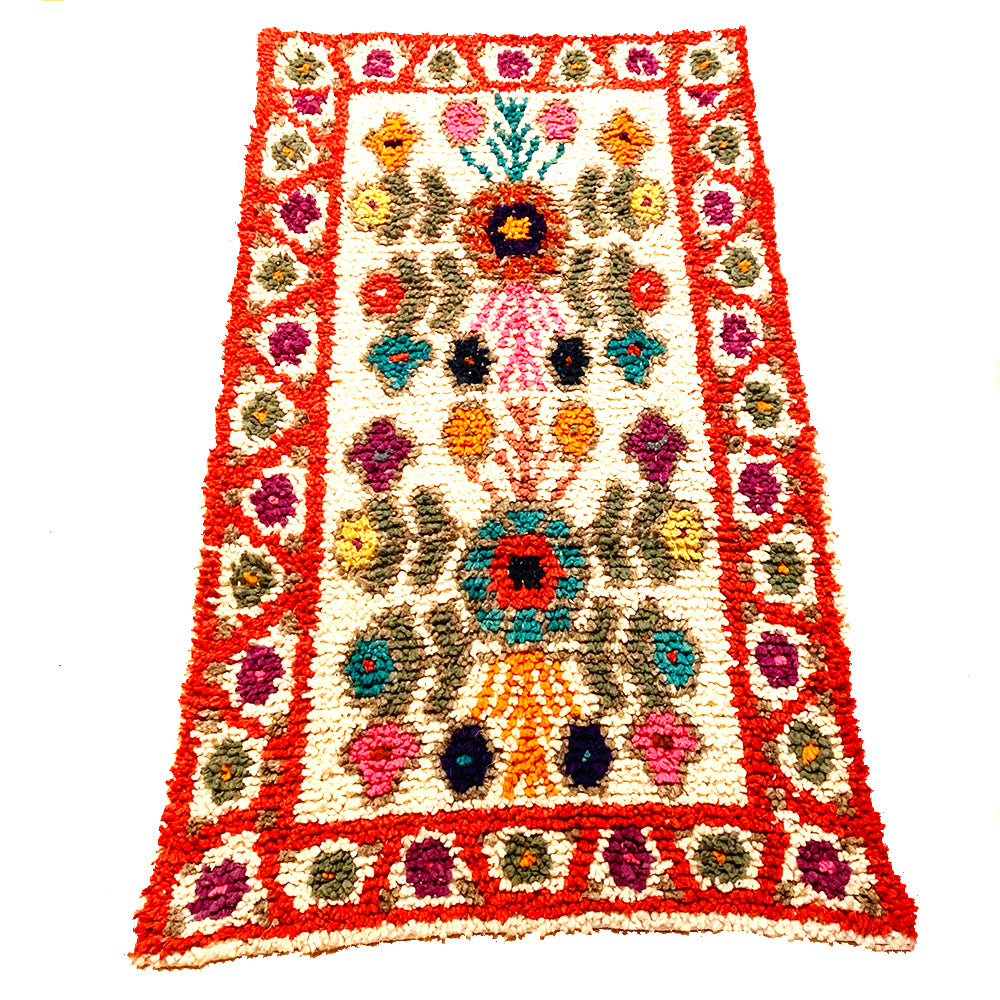 Small Burnt Orange Colorful Handwoven High Pile Wool Rug from Guatemala - 3x5
