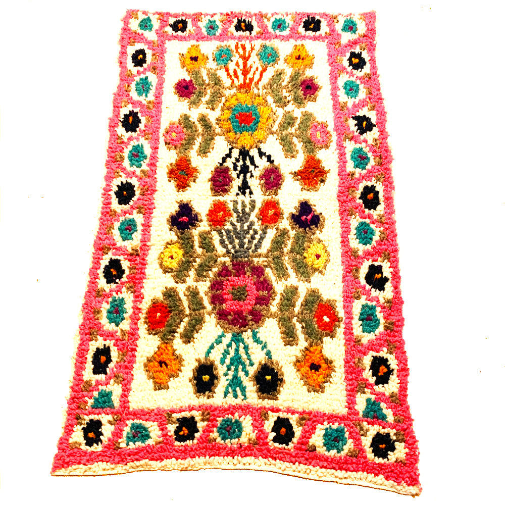 Small Pink Colorful Handwoven High Pile Wool Rug from Guatemala - 3x5