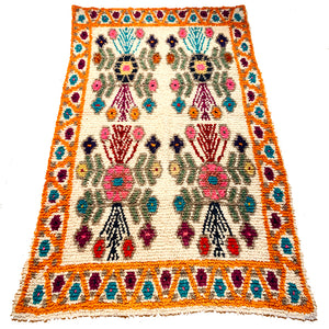 Orange Handwoven High Pile Wool Rug from Guatemala - 5 x 7 Feet