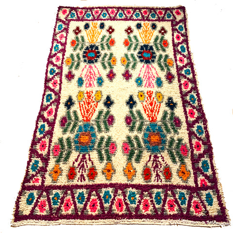 Purple Handwoven High Pile Wool Rug from Guatemala - 5 x 7 Feet