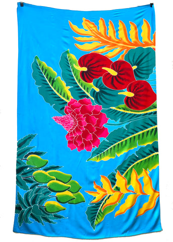 Bright Tropical Flower Hand Batik Sarong / Bathing Suit Cover Up