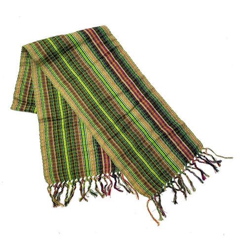 Green Hand Woven Cotton & Silk Scarf Made in Guatemala