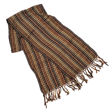 Brown Hand Woven Cotton & Silk Scarf Made in Guatemala
