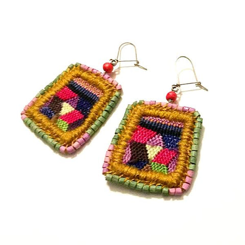 Vintage Huipil with Green and Purple Ceramic Bead Earrings