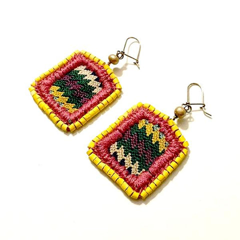 Vintage Huipil with Yellow Ceramic Bead Earrings