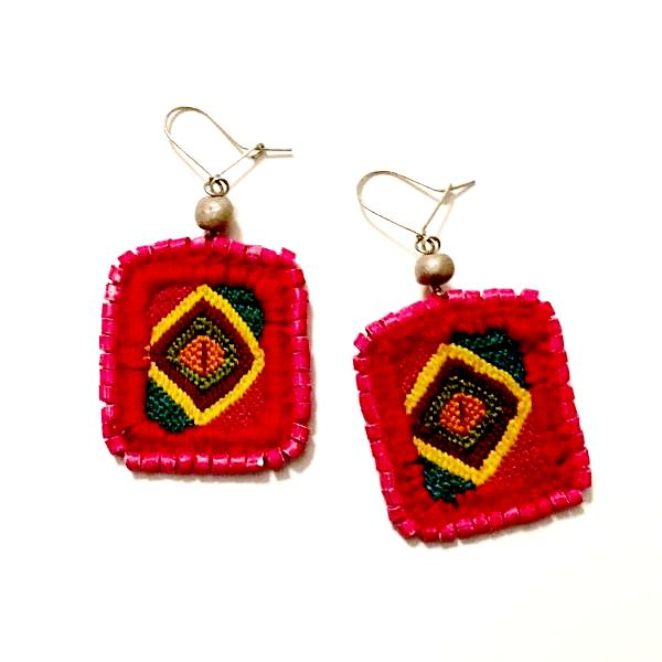Vintage Huipil &  Pink Ceramic Bead Earrings