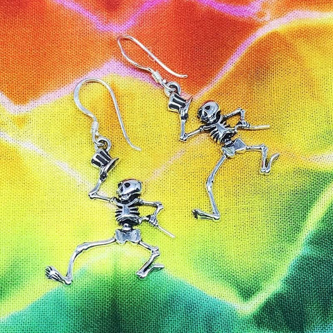 Dancing Skeleton Earrings Cast In Sterling Silver