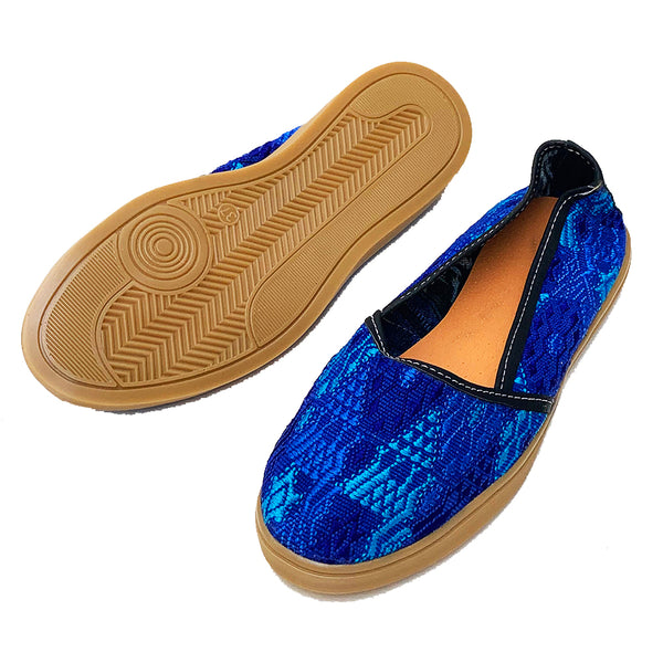 Handmade Vintage Blue Huipil Slip On Shoes