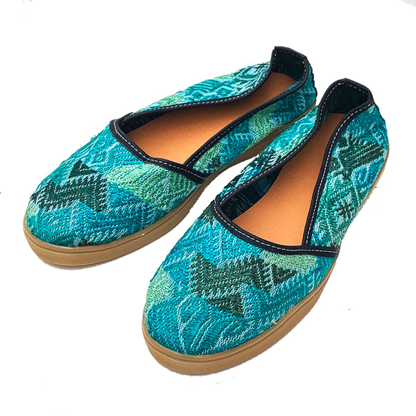 Handmade Vintage Sparkly Green Huipil Slip On Shoes