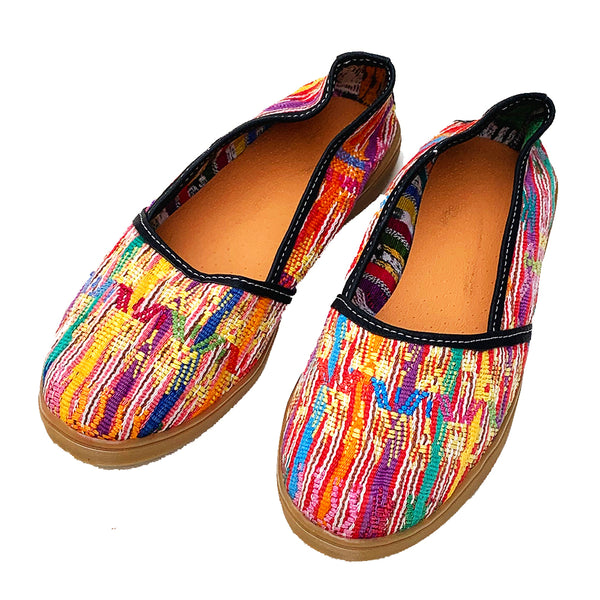 Handmade Vintage Multi Colored Huipil Slip On Shoes