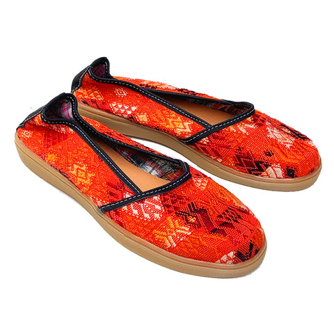 Handmade Vintage Orange Colored Huipil Slip On Shoes