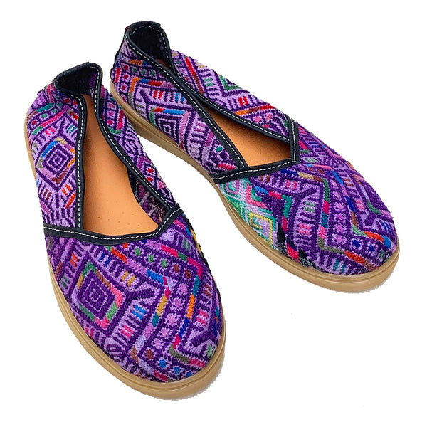 Handmade Vintage Purple Huipil Slip On Shoes