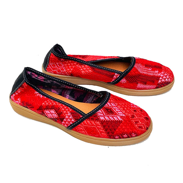 Handmade Vintage Red Colored Huipil Slip On Shoes