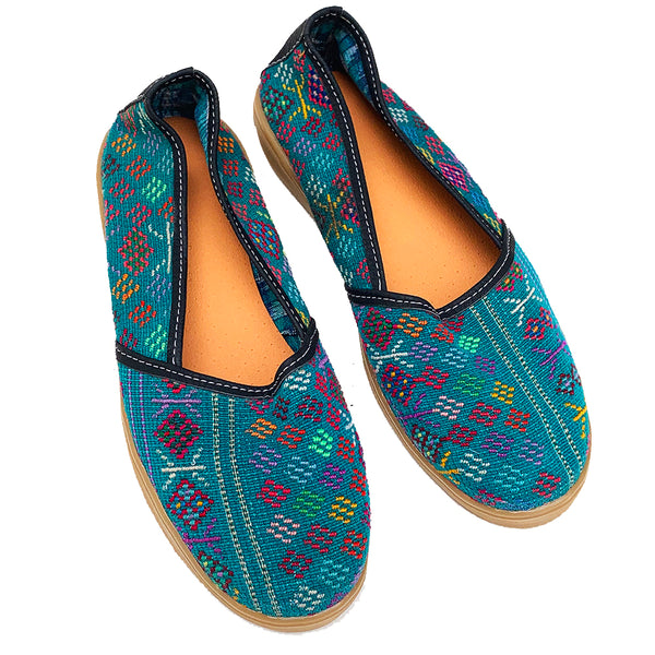 Handmade Vintage Teal Green Huipil Slip On Shoes