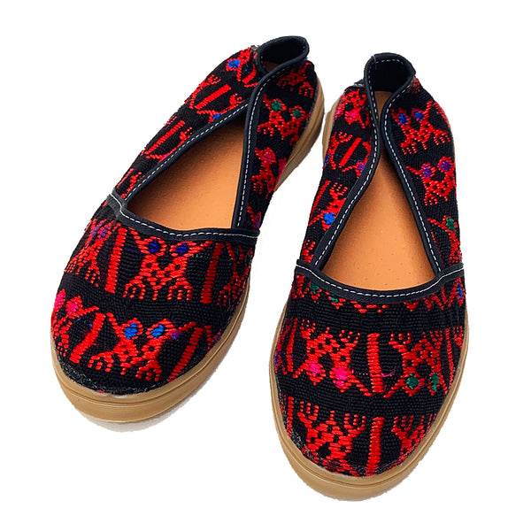 Handmade Vintage Red & Black Huipil Slip On Shoes