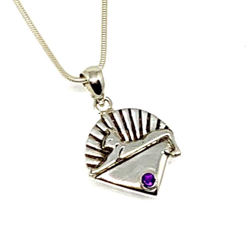 Cats Pendant Cast In Sterling Silver with Faceted Amethyst Stone on Sterling Silver Chain