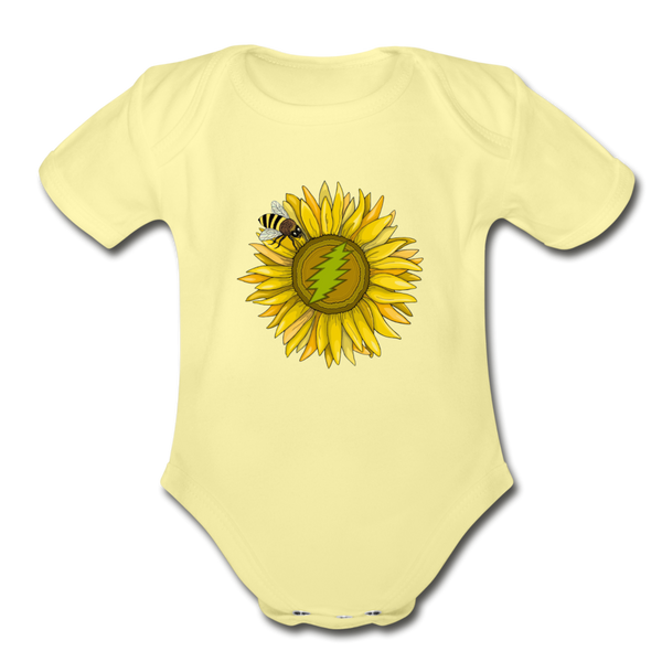 Organic Short Sleeve Baby Bodysuit - washed yellow