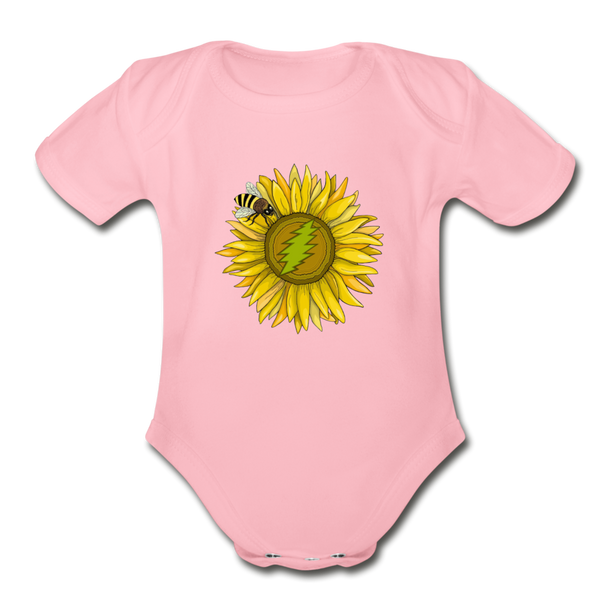 Organic Short Sleeve Baby Bodysuit - light pink