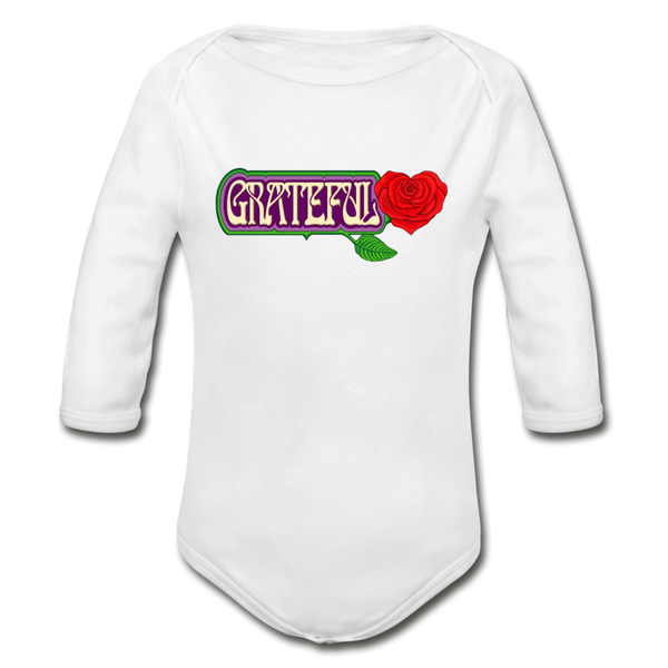 Grateful Rose Heart Organic Long Sleeve Baby Bodysuit - white