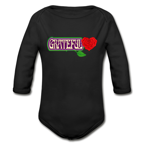 Grateful Rose Heart Organic Long Sleeve Baby Bodysuit - black