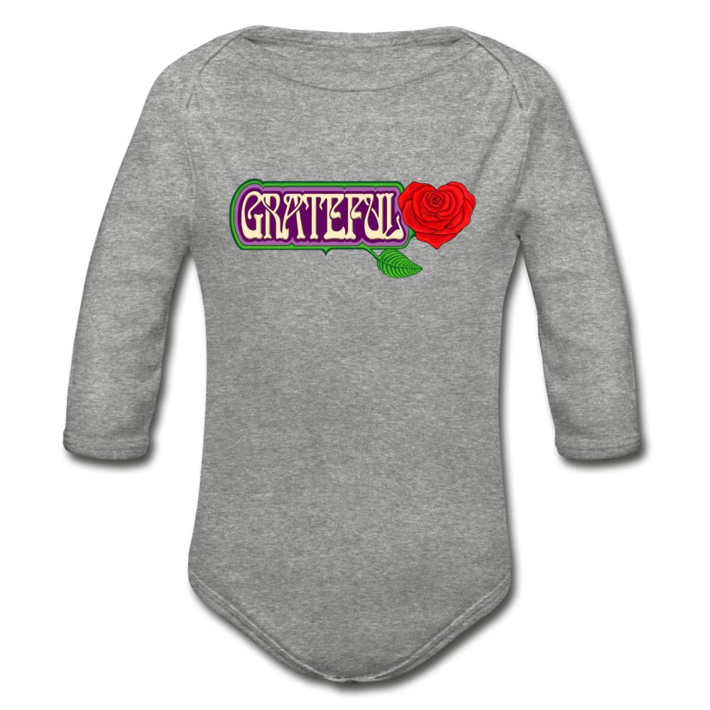 Grateful Rose Heart Organic Long Sleeve Baby Bodysuit - heather gray